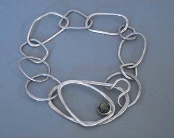 Sterling Free Form Link Bracelet with Labradorite