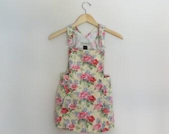 Vintage Girls Limited Floral Jumper Dress Size 10