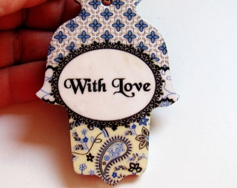 With love Hamsa keychain, Hand of fatima key chain, Personalized gift, handbag charms , evil eye key chain, hamsa bag charm, judaica