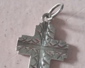 Vintage Sterling Silver Cross Pendant Double Sided 925