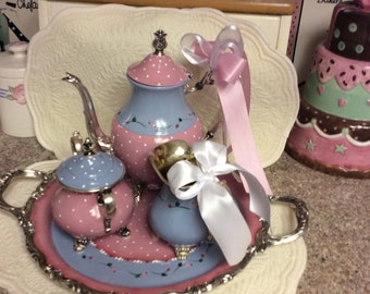Vintage silver tea set/custom painted