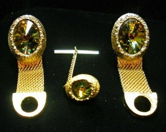 Vintage Rivoli Cuff Link and Tie Pin Set