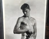 "Vintage B & W Photograph Erotica Nude Physique Original Photograph otherwise known as  ""Beefcake"""