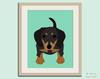 Dachshund print puppy dog nursery decor. Dog nursery print. Doxie, Sausage dog, weiner dog. Art print by WallFry
