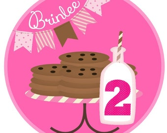Cookies & Milk Happy Birthday, girly banner
