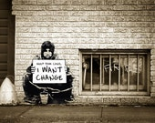 Banksy Canvas (READY TO HANG) - Keep Your Coins I Want Change - Multiple Canvas Sizes
