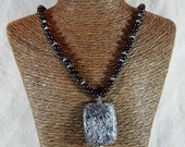 """Silver mica schist necklace 19"""" long garnet reversible fish scale jasper pendant semiprecious stone jewelry packaged in a gift bag 11441"""