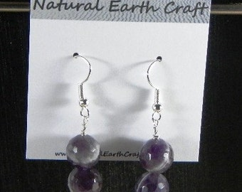 Dark purple faceted amethyst earrings double rounds semiprecious stone jewelry gemstone February birthstone packaged in a gift bag 2879