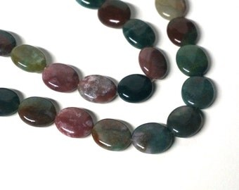 FANCY JASPER beads, 14mm x 12mm flat oval gemstone, full & half strands available  (153S)