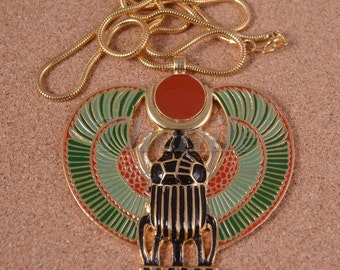 Egyptian Large Winged Scarab Pectoral Necklace