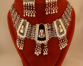 BELLY DANCE EGYPT Necklace & Earrings With Tut