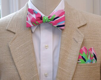 Men's Pocket Square & Bow Tie, Lilly navy Sippin' n Trippin', wedding party wear, groomsmen gift, groom bow tie set, men's gift, prom style