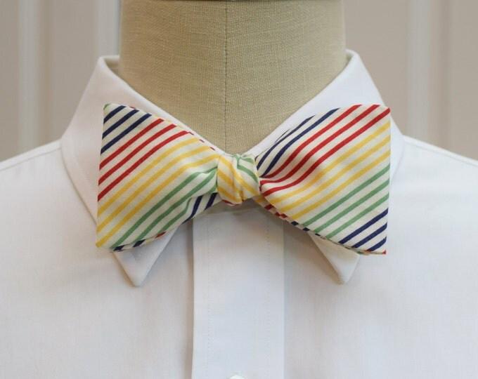 Men's Bow Tie, primary color stripes tie, geometric bow tie, wedding party bow tie, groom/groomsmen bow tie, multi color striped bow tie,