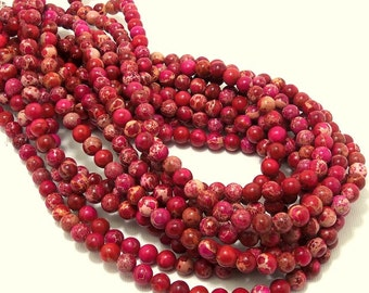 Impression Stone, Red/Pink, 6mm, Round, Smooth, Gemstone Beads, Small, Full Strand, 65pcs - ID 2051