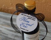 """Mini Wine Bottle Custom 2"""" Favor Tags - Perfect Engagement / Wedding / Bridal Shower / Birthday or Anniversary Party / Thank You (100)"""