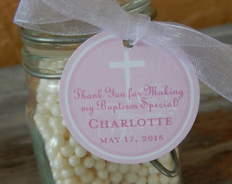 """Baptism Custom Thank You Favor Tags - For Cake Pops - Lollipops - Cookies - Party Favors - (80) 1.5"""" Personalized Printed Tags"""