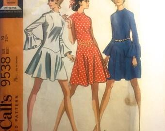 60s McCalls 9538 Drop Waist Mini Dress Flared MOD Size 10 Bust 32