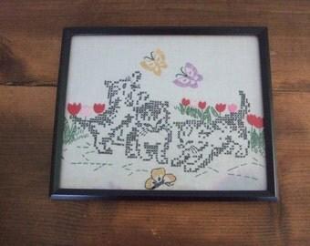 Kittens Chasing Butterflies Vintage Framed Cross-stitch