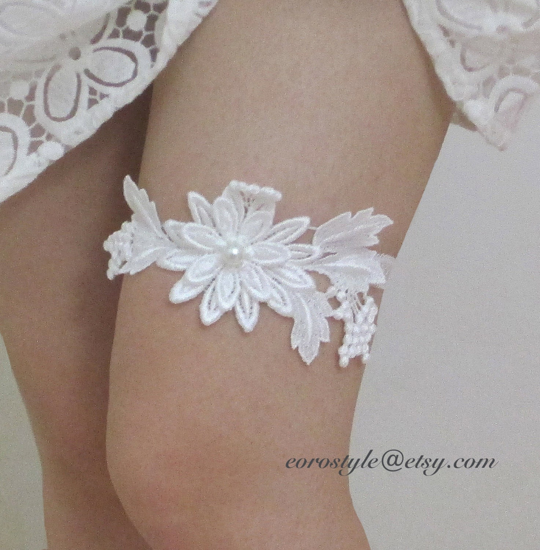 Bridal Garter Lace White Lace Garter White Flower Garter