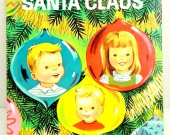 Vintage Waiting for Santa Claus Children's Wonder Books 565 washable cover 1952