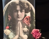 Real Photo Postcard / Beautiful Woman - Pink Roses - Antique Photo - Old Photo