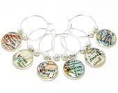 CUSTOM Vintage Map Wine Glass Charm Set. You Select Locations. Anywhere In The World. Wedding Favors. Wedding Bridesmaid. Wedding Gifts.