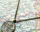 Washington, D.C. 1953 Map Necklace. Map Pendant. Map Jewelry.