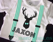 Personalized Birth Announcement Newborn Baby Bodysuit, Deer Head, baby shirt, baby boy, Suspenders, Trendy, Baby Take Home Outfit, Bow Tie