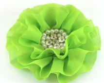"Apple Green Lime Green Chiffon Pearl & Rhinestone Flower- 4"" - Set of 2"