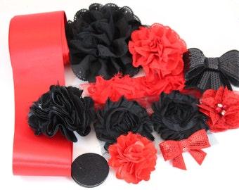 DIY Maternity Sash Kit - Red & Black - Gender Reveal Party - DIY Bridal Sash - Red and Black Bridal Sash for Poto Shoot