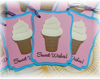 Ice Cream Cone - Sweet Wishes Tags - Vanilla Cone Gift / Hang Tags (8)