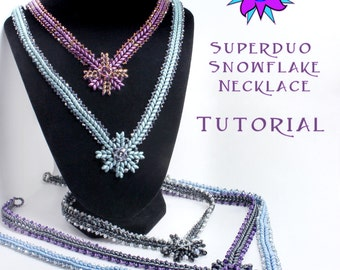 SuperDuo Winter Snowflake Necklace Pattern, Herringbone Stitch Two Hole Seed Bead Tutorial, PDF Instructions, Laura Graham Design
