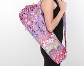 Yoga Bag in Purple Floral with a Zipper Pocket Inside- Free Shipping