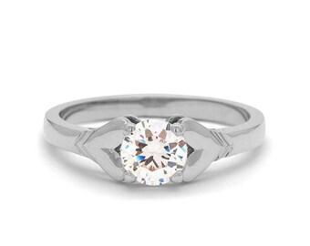 Heart Engagement Ring 18k White Gold, Diamond Engagement Ring, Two Hearts Solitaire Diamond Ring