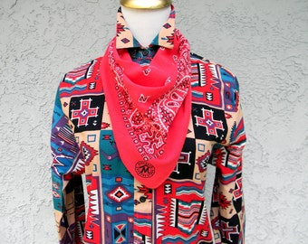 Southwestern Bandana - Vintage 80s Red and White Bandana Scarf - 100% Cotton - Paisley Print - Made in the USA - American Made by Marlboro
