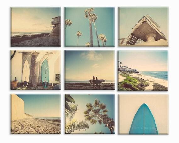 Set of 9 surf beach decor canvas prints beach photos for 1950s beach house designs