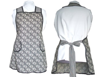 Plus size Apron, Women's Apron - Black and Tan Tiny Flowers, Full Figure Apron - Size 3XL only