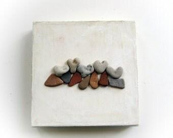 Pebble Art - Beach Rocks Art - Beach Pebbles -  Heart Shapes Rocks - Beach Heart Pebbles -  genuine Heart shaped Beach stones rocks - S35
