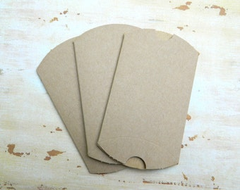 3 Small Brown Kraft Pillow Boxes - 3 1/4 x 3 x 1 inches - Favor Packaging - Wedding Favor Boxes - Small Favor Box - Jewelry Boxes - Gift Box