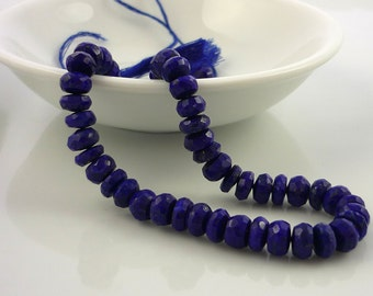 Pretty Lapis lazuli faceted rondelle beads 5.5-6mm 1/2 strand