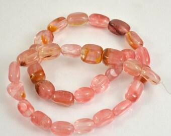 "Nugget Cherry  Red Crystal Quartz strand Gemstone Beads  , cherry red crystal bead. Full one strand 15"""