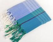 sale 50% off, green blue cotton peshtemal, turkish towel, beach towel, soft cotton, naturel cotton, bath, yoga, blue green striped towel