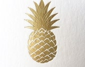 Gold Pineapple Coasters, Gold Foil, 25 CT.