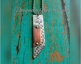 Owl Metal Jewelry Rustic Riveted  Hammered Necklace Unique Uniquely Impressed
