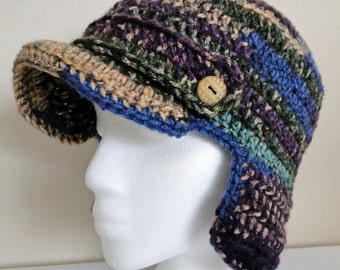 Hand Crochet Purple, Green and Blue, Cream Earflpa Newsboy Hat
