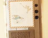 So Sorry Card, Woodlands Apologies Card, Handmade Upcycled Beatrix Potter Card