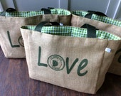 LOVE - Destination Custom Wedding Tote Bags - Handmade Wedding Favors or Bridesmaids Gifts