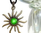 Heart Chakra, Green Jewelry, Reiki Healing, Sun Necklace
