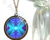 Purple Teal Chakra Jewelry Reiki Energy Necklace Wearable Art