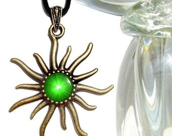 Heart Chakra Pendant, Green Jewelry, Reiki Attuned Sun Necklace